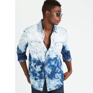 American Eagle Bleach Washed Snap Western Shirt